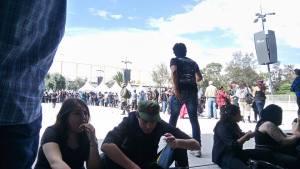 Medios esperando ser acreditados. Foto: Fredy Santiago Cruz