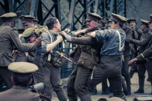 Picture Shows: A fight breaks out amongst British soldiers before battle begins