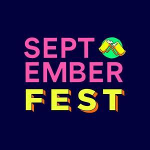 logo de festival color azul letras en rosa y amarilo